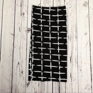 Black Midi Skirt w/ White Stripes